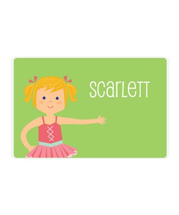 Strawberry Blonde Pigtails Ballerina Personalized Place Mat