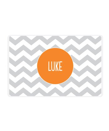 Gray Zigzag Personalized Place Mat