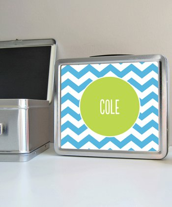 Blue Zigzag Personalized Lunch Box
