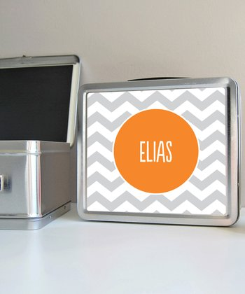 Gray Zigzag Personalized Lunch Box