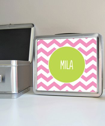 Pink Zigzag Personalized Lunch Box