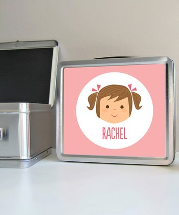 Brown-Haired Pigtails Girl Personalized Lunch Box
