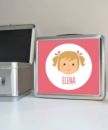 Dark Blonde Pigtails Girl Personalized Lunch Box