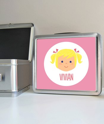 Light Blonde Pigtails Girl Personalized Lunch Box