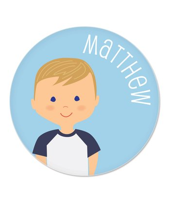 Dark Blonde Boy Personalized Plate