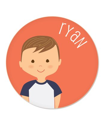 Light Brown-Haired Boy Personalized Plate