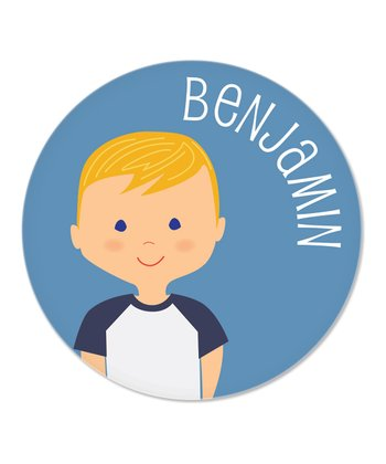 Strawberry Blonde-Haired Boy Personalized Plate