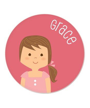Brown-Haired Ponytail Girl Personalized Plate