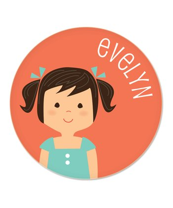 Black-Haired Pigtails Girl Personalized Plate