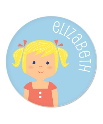 Blonde Pigtails Girl Personalized Plate