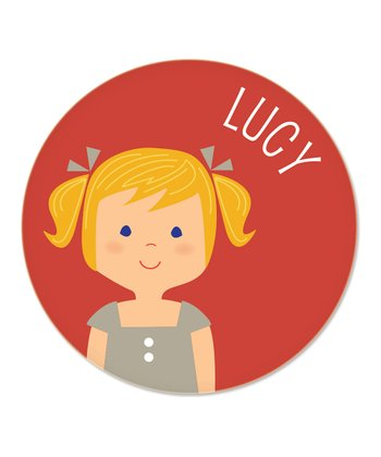 Strawberry Blonde Pigtails Girl Personalized Plate