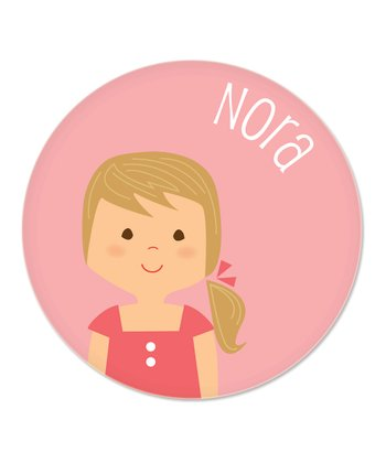 Dark Blonde Ponytail Girl Personalized Plate