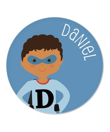 Curly Black-Haired Superhero Personalized Plate