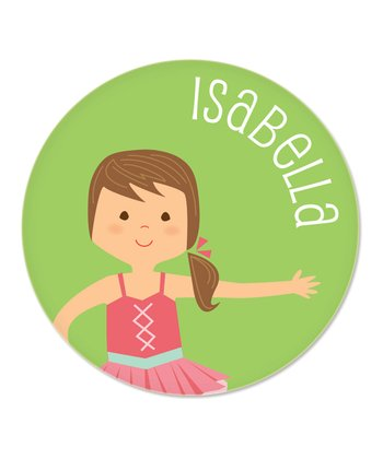 Brown-Haired Ponytail Ballerina Personalized Plate