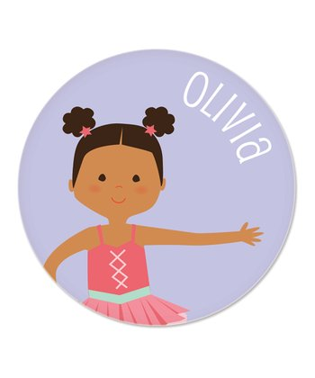 Black-Haired Pouf Pigtails Ballerina Personalized Plate