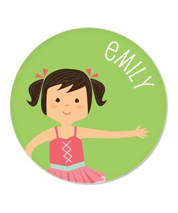 Black-Haired Pigtails Ballerina Personalized Plate