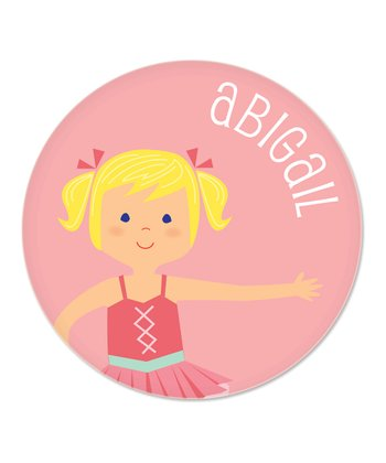 Blonde Pigtails Ballerina Personalized Plate