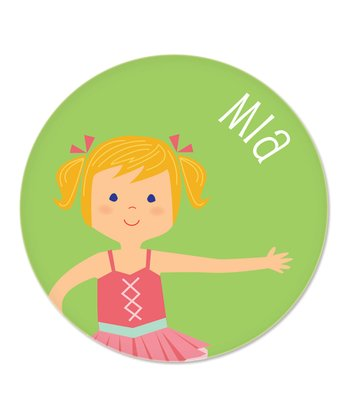 Strawberry Blonde Pigtails Ballerina Personalized Plate