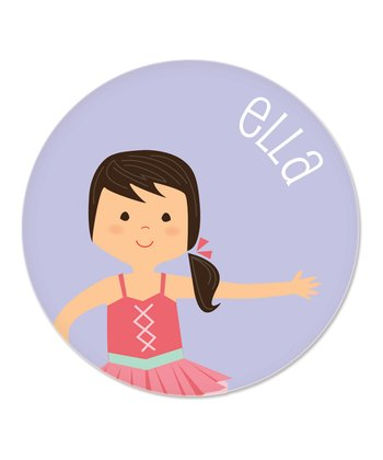 Black-Haired Ponytail Ballerina Personalized Plate