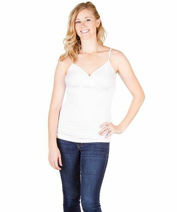 White Cozy Slim Nursing Camisole - Women