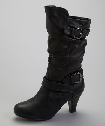 Black Buckle Wrap Boot