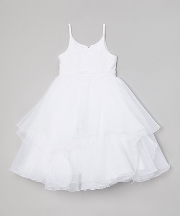 White Sequin Ruffle Dress - Girls & Girls' Plus