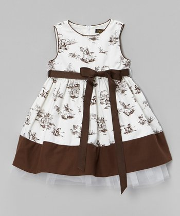 White & Brown Toile Sleeveless Dress - Infant, Toddler & Girls