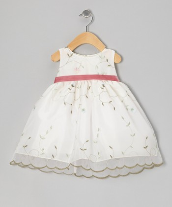White & Pink Embroidered Organza Dress - Infant, Toddler & Girls