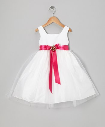 White & Fuchsia Babydoll Dress - Infant, Toddler & Girls