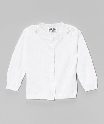 White & Pink Pointelle Rose Cardigan - Infant, Toddler & Girls
