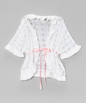 White & Pink Open Cardigan - Toddler & Girls