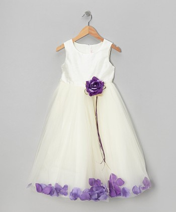 Ivory & Purple Flower Petal A-Line Dress - Infant, Toddler & Girls