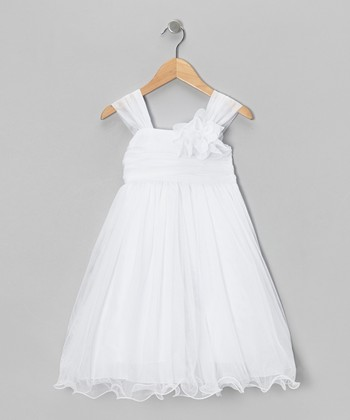 White Chiffon Ruffle Dress - Toddler & Girls