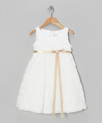 White & Champagne Rosette A-Line Dress - Toddler & Girls