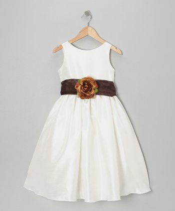 Ivory & Chocolate Rose A-Line Dress - Toddler & Girls