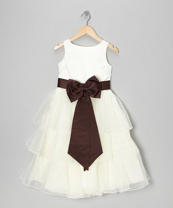 Ivory & Brown Tiered Bow Dress - Toddler & Girls