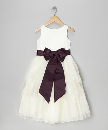 White & Purple Tiered Bow Dress - Toddler & Girls