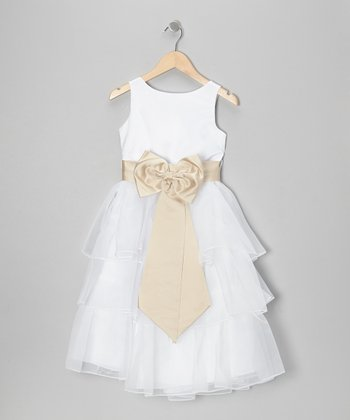 White & Champagne Tiered Bow Dress - Toddler & Girls