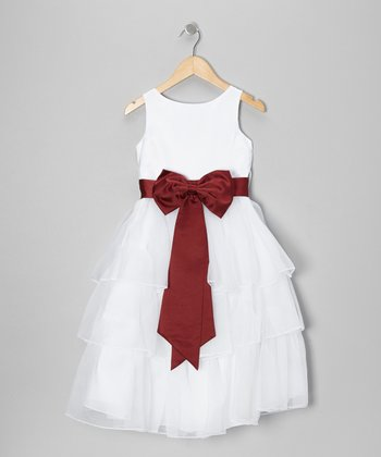 White & Burgundy Tiered Bow Dress - Toddler & Girls