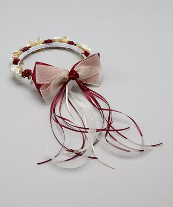 Burgundy Flower Bow Halo