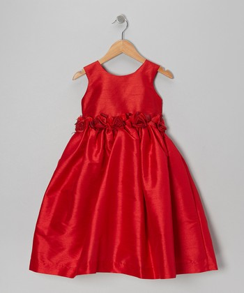 Red Organza Flower A-Line Dress - Infant, Toddler & Girls