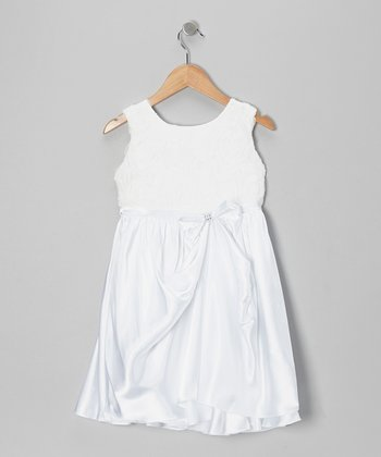 White Rosette Bow Satin Dress - Toddler & Girls