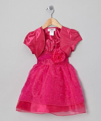 Pink Organza Dress & Shrug - Toddler & Girls