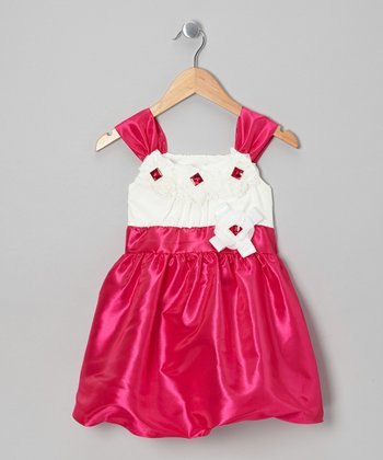 Pink Rosette Bubble Dress - Toddler & Girls