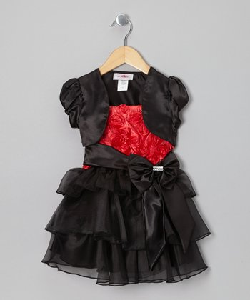 Red & Black Rosette Dress & Shrug - Toddler & Girls