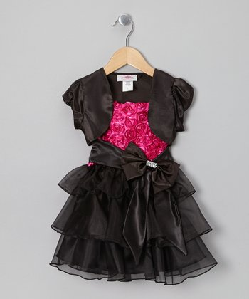 Pink & Black Rosette Dress & Shrug  - Girls