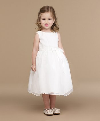Ivory Pleated Organza Dress - Infant, Toddler & Girls