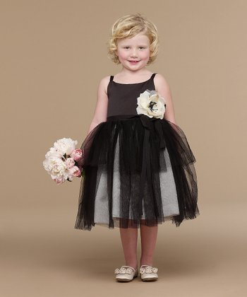Black Satin & Tulle Ballerina Dress - Infant, Toddler & Girls
