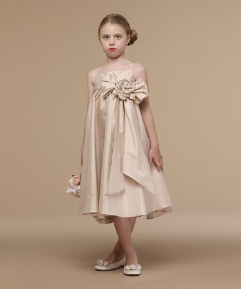Champagne Big Bow Taffeta Dress - Infant, Toddler & Girls