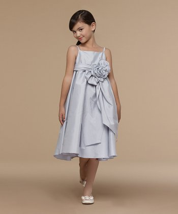 Pewter Big Bow Taffeta Dress - Infant, Toddler & Girls